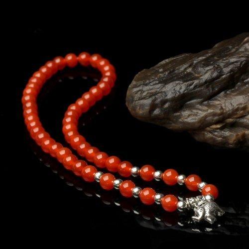 O-stone Séries de bracelet de Petite princesse d'Éléphant en agate rouge 3A + Bracelet en argent tibétain 6mm Pierre de proterction