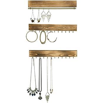 Amazon.com: Espresso Wooden Wall Mount Jewelry Organizer