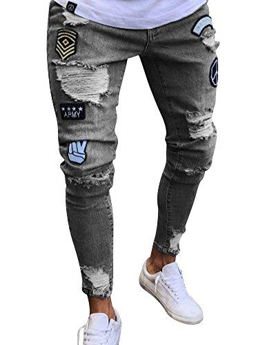 Con Uomo Slim Strappati Jeans Pantaloni Elasticizzato Fit Grigio Toppe A7wxdEq