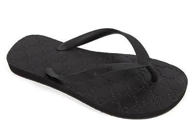 7312217e98e9 Gucci men s rubber flip flops sandals black UK size 5 283029J87001000