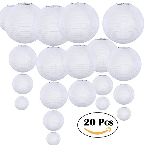 "Supla 20 Pack Chinese White Paper Lantern White Round Paper Lanterns 4"" 6"" 8"" 10"" 12"" Wedding Party Decorations"