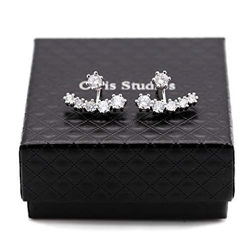 - Orris 18K White Gold Double Side Shinning Diamond Strand Ear Jacket Stud Earrings Set