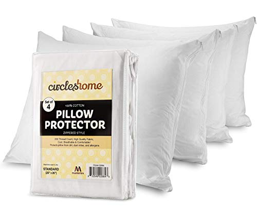 Mastertex Pillow Protectors 4 Pack Standard Zippered | 100% Cotton Breathable Pillow Covers | Protects from Dirt, Dust & Allergens | Hypoallergenic & Quiet (Standard - Set of 4-20x26)