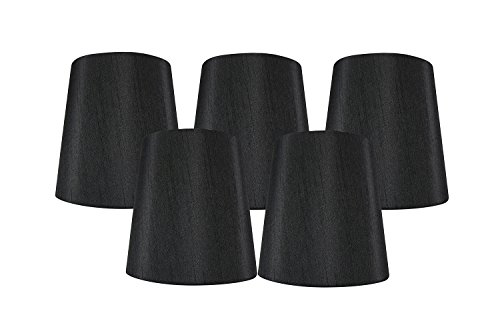 Meriville Set of 5 Black Faux Silk Clip On Chandelier Lamp Shades, 4-inch by 5-inch by 5-inch
