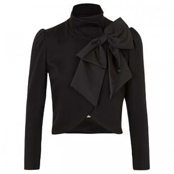 Alice + Olivia Women's Addison Bow Embellished Jersey Jacket Black L