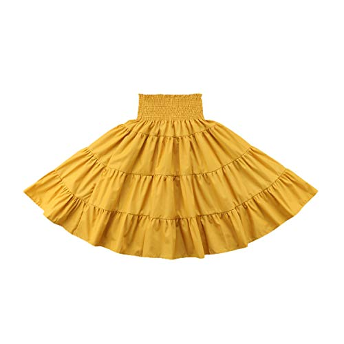 remeo suit Todder Baby Girl 1-5Years Pleated Maxi Skirt Solid Skirt with Elastic Waistband (Yellow, ()
