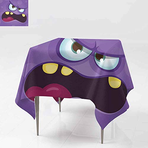 Fbdace Spill-Proof Table Cover,Funny Angry Cartoon Monster face Halloween Illustration Prints Design for t-Shirts for Events Party Restaurant Dining Table Cover 54x54 Inch