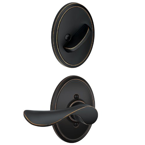 - Schlage F59CHP716WKFRH Aged Bronze Champagne Right Handed Interior Pack Lever Set with Single Cylinder Deadbolt and Decorative Wakefield Rose