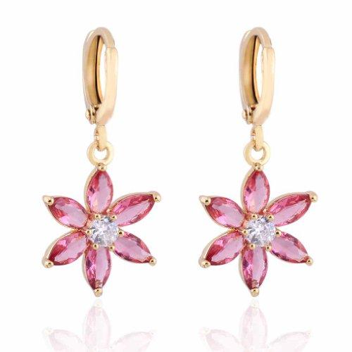Flower Filled (YAZILIND Charming Flower Design 18k Gold Filled Inlay Pink Cubic Zirconia Dangle Drop Earrings for Women)