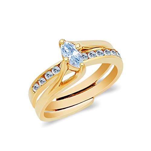 Ioka - 14K Solid Yellow Gold 0.5 Ct. Marquise Cut CZ Wedding Engagement Ring 2 Piece Bridal Set - Size 5.5