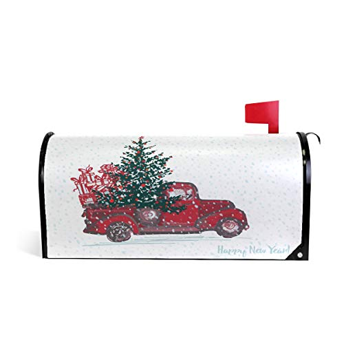 (Christmas Red Truck Car Tree Snow Magnetic Mailbox Cover MailWraps, Winter Happy New Year Large Mailbox Wraps Post Box Garden Yard Home Decor for Outside)