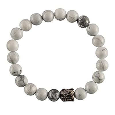 Aatm Reiki Energized Gift Natural Gemstone 7-8mm Round Beads Buddha Beaded Howlite Gemstone Chakra Stretch Bracelet Unisex for Healing (Stone Of Calmness, patience,healing; insomnia)