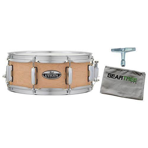 (Pearl MUS1350M224 Modern Utility 13X5 Maple Snare Drum, Satin Natural w/Geartre)
