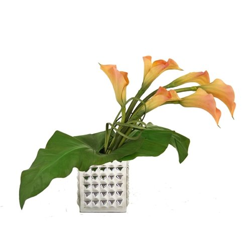 Distinctive Designs International 7457 Silk Draping Calla Lilies With Leaves In A Studded Square Aluminum Vase