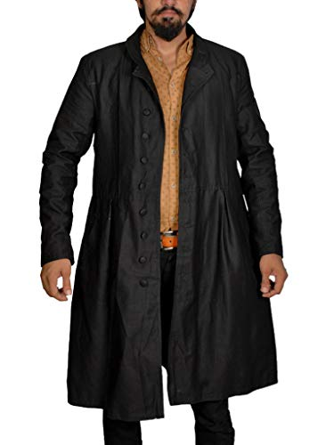 Men's The Matrix Neo Cosplay Costume Black Cotton Trench Coat (XS, Black)
