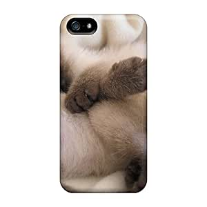 Awesome Free Walking Defender Tpu Hard Case Cover For Iphone 5/5s- Two Sleeping Siamese Kittens