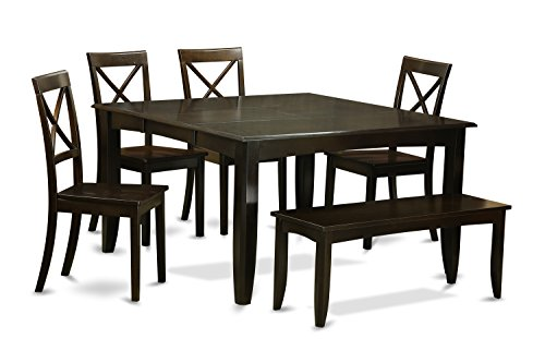 East West Furniture 6 Pc Room Set Dining Table with Leaf and 4 Kitchen Chair Plus Bench, Cappuccino Finish (Plus Furniture Dinettes)