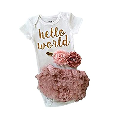 Newborn Infant Baby Girls Hello World Clothing 3pcs Romper Clothes+Gauze pants+Flower Headband