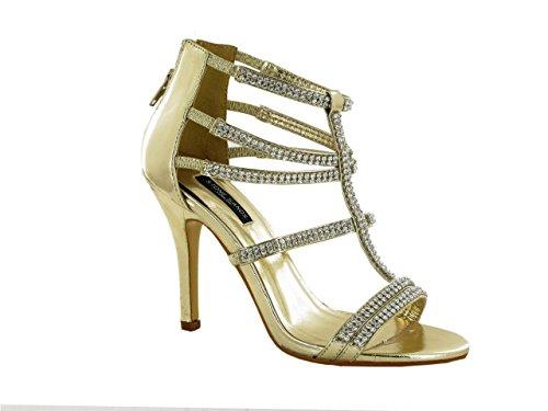 HotSoles - Sandalias de vestir de Material Sintético para mujer dorado
