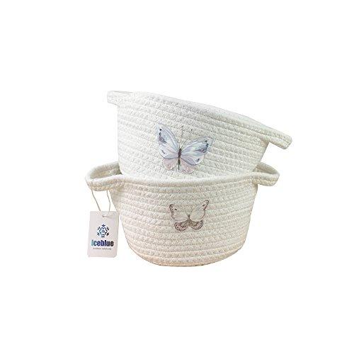 Iceblue Set of 2 Unique Butterfly Pattern Mini Basket Cotton Rope Storage Bin Basket Organizer with Handles Desktop Decor