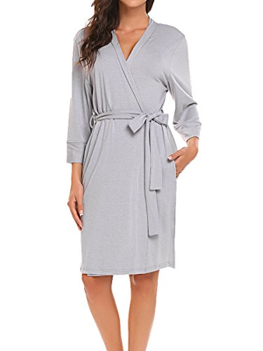 Viscose Jersey 3/4 Sleeve Dress - BLUETIME Kimono Robe/Short Robes Knee Length/Bath Robes for Women (S, Gray)