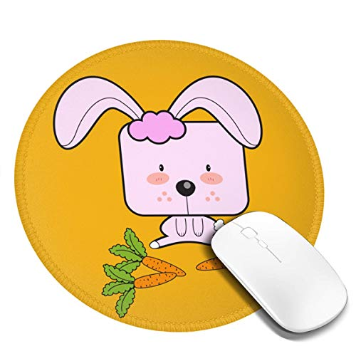 Fresquo Home/Office Round Mouse Mice Pad Mat 7.9x7.9 in -Rabbit Eating Radish