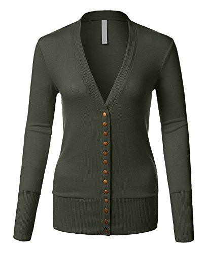 Mixed Knit V-Neck Brass Snap Button Sweater Cardigans Dark Olive Medium