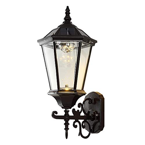 Solar Wall Lantern Outdoor, Wireless Dusk to Dawn Wall Light, LED Wall Mount Light Fixture, 21