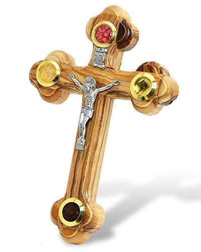 Galileecraft Wall Cross of Olive Wood with Crucifix Catholic from Jerusalem by Holy Land
