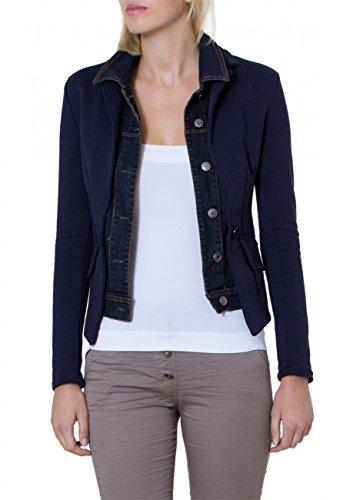 CASPAR - Vest blazer en jersey pour femme avec col en jeans - plusieurs coloris - BZR002 Bleu