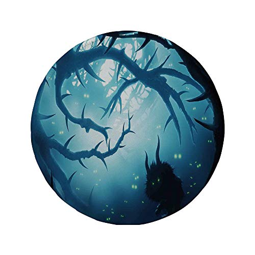 Non-Slip Rubber Round Mouse Pad,Mystic House Decor,Animal with Burning Eyes in Dark Forest at Night Horror Halloween Illustration,Navy White,11.8