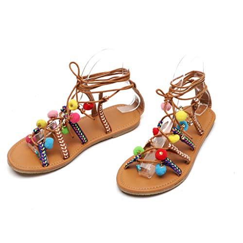 Aunimeifly Women Bohemian Cross-Tied Pom-Pom Beaded Sandals Gladiator Leather Flats Lace-Up Round Toe Beach Shoeses