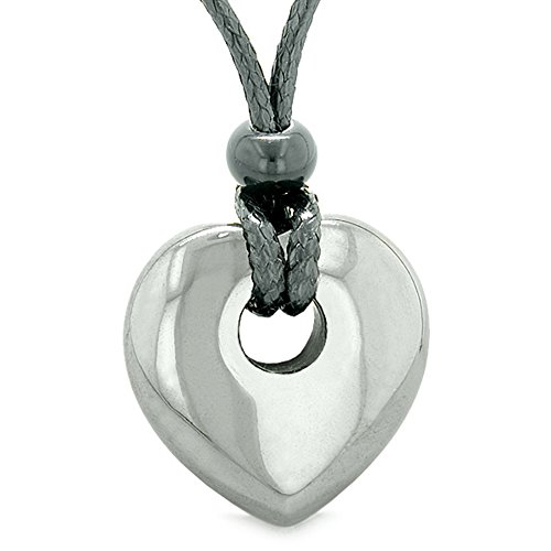 Amulet Lucky Heart Donut Shaped Charm Hematite Gemstone Pendant Spiritual and Healing Powers Necklace -