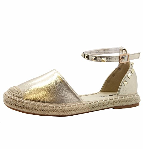Señoras Pisos Alpargatas Tobillo Correa Sandalias Zapatillas Zapatos tamaño 36-41 Oro