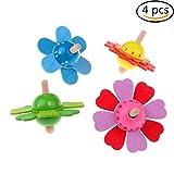 4 Pieces Wood Spinning Tops Wooden Handmade Flower Pattern...