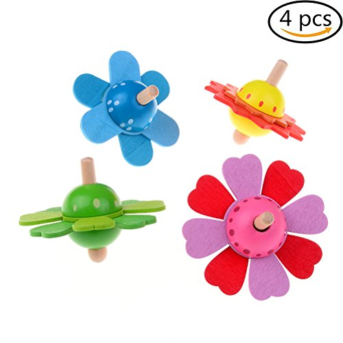4 Pieces Wood Spinning Tops Wooden Handmade Flower Pattern Toys for Children Kids ()