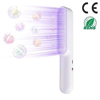 UV-C Light Portable UV Light Wand, Ultraviolet Light Travel Wand UV-C Household Handheld 7W USB Charge Sanitizing Lights, Home Hotel Toilet Car Pet Cleaner, White
