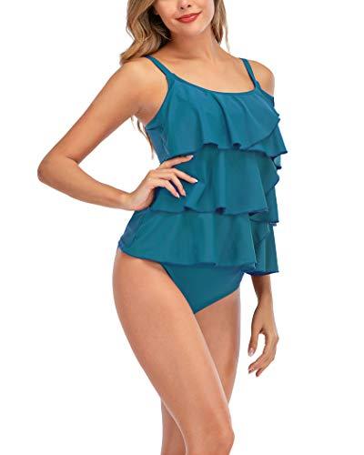 AOVXO Tankini Swimsuits for Women 2 Piece Flounce Printed Swimwear with Triangle Briefs (Blue, US8~10)