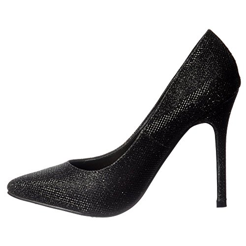 Onlineshoe Women's Party Mid Heel Pointed Toe Glitter Court Shoes - Silver Mesh, Black Mesh Black Mesh