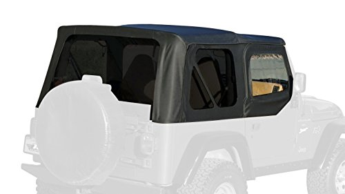 Rampage Products 912935 Premium Replacement Sailcloth Soft Top for 1997-2006 Jeep Wrangler TJ with Door Skins, Black Diamond w/Tinted (Outer Door Skin)