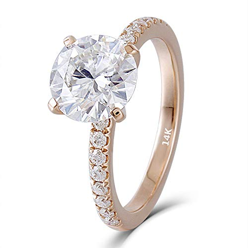 d 2ct 8mm G-H-I Color Heart Arrows Cut Moissanite Engagement Ring with Accents Band Width 1.6mm(8) ()