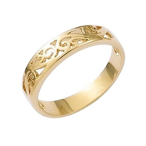 So Chic Jewels - 18k Gold Plated Arabesque Spiral Filigree Band Ring - Size 5.5