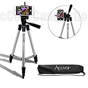 "Acuvar 50"" Inch Aluminum Camera Tripod and Universal Smartphone Mount For All Iphones, Samsung Phones and many more"