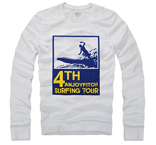 [T&Mates Mens Christmas Casual Cotton Embroidered Crew Neck Long Sleeve T-Shirts (WhiteBlue Size M)] (Group Dressing Up Ideas)