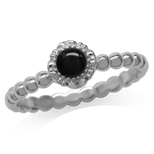 Created Black Onyx White Gold Plated 925 Sterling Silver Flower Stack/Stackable Ring Size 8