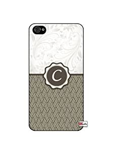 Monogram Initial Letter C iPhone 4 Quality Hard Snap On Case for iPhone 4 4S 4G - AT&T Sprint Verizon - White Case Cover
