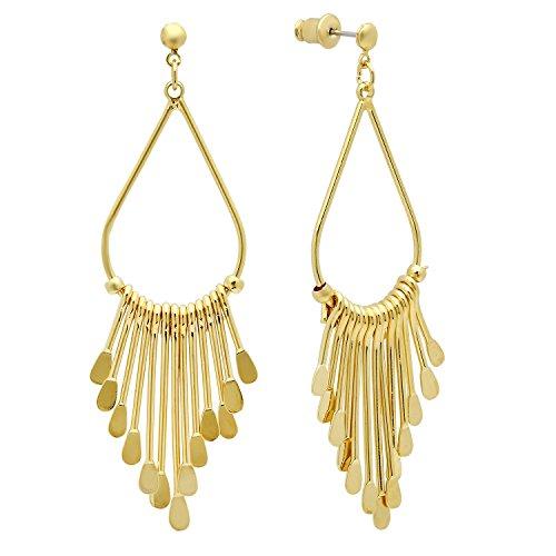 Teardrop Fringe Earrings (Gold Plated Tear Drop Loops w/Dangling Bib Fringe Earrings + Microfiber Jewelry Polishing Cloth)