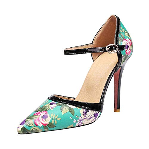- Benficial Fashion New Printed Coloured Tip-Up Slim High-Heeled Sexy Women Sandals Blue