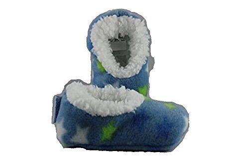 Out of the blue - Baby Snoozies - Baby Hausschuhe, blau mit Sternen, Größe S, 0 - 3 Monate, Plüsch, antirutsch Sohle