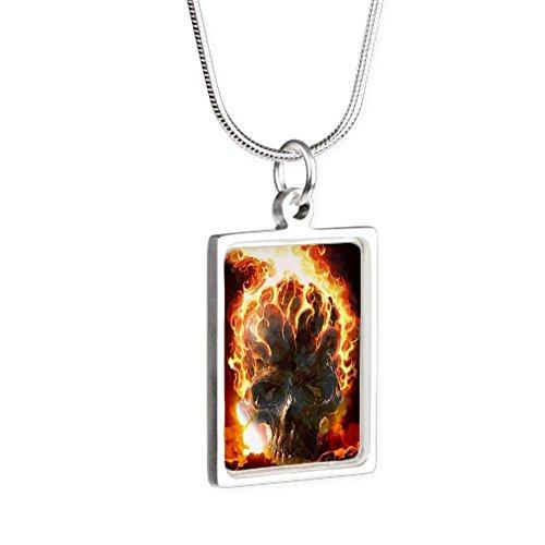 Royal Lion Silver Portrait Necklace Flaming Skull - Flaming Skull Necklace